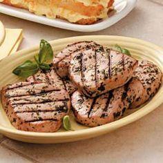 Basil Tuna Steaks:  6 servings; 214 calories, 5 g fat per serving; Diabetic Exchanges: 5 lean meat, 1 fat