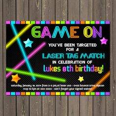 Laser Tag Invitation Birthday Neon Party Invite Glow In The Dark Printable