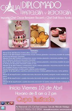 En Abril inicia el Diplomado en #Pastelería y #Repostería #CENUA #CENUA18años #Tula #cocina