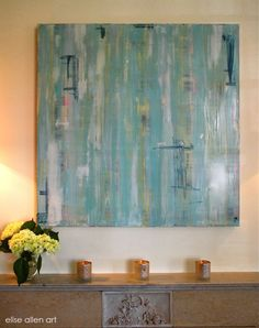 """Serenity in an uptown New Orleans home. 2010 Venetian Plaster with acrylics on wood. 40"""" x 40"""""""