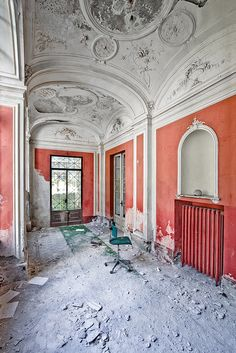 Abandoned mansion. Beautiful. Must have been stunning in its day. Love this wall color!