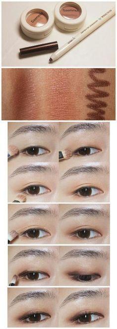 ideas eye contact lenses shops asian makeup for 2019 Eye Makeup Steps, Simple Eye Makeup, Natural Makeup, Makeup Tips, Beauty Makeup, Makeup Ideas, Asian Makeup Looks, Korean Eye Makeup, Asian Make Up