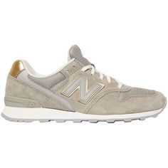 New Balance Women 996 Suede & Mesh Sneakers ($99) ❤ liked on Polyvore featuring shoes, sneakers, beige, new balance trainers, rubber sole shoes, new balance, beige suede shoes and suede shoes