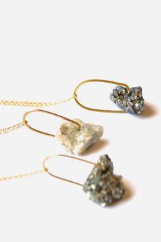 Shining Rock Necklace Pyrite in Quartz Pendant