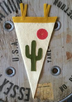 Cactus Wool Felt Pennant, Wall Hanging, Room Decor, Banner, Flag