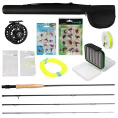 Fly Fishing Rod Reel Combo With Flies