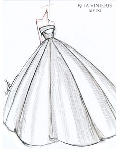 """Exclusive: Get a First Look at the Fall 2019 Bridal Collections - """"The bride I. - Exclusive: Get a First Look at the Fall 2019 Bridal Collections – """"The bride I envision wearing this dress and any dress I design is one who is confident in being – - Gown Drawing, Dress Design Drawing, Dress Design Sketches, Fashion Design Drawings, Fashion Sketches, Sketch Design, Clothes Design Drawing, Ball Drawing, Fashion Figure Drawing"""