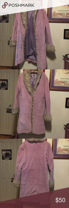 Knee length chic coat Lavender suede with a faux fur grey trim. Stylish. Jackets & Coats
