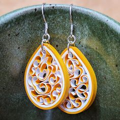 Orange Peel Handmade Quilled Earrings $26 with Free Shipping https://www.etsy.com/listing/538623053/orange-peel-earrings-lightweight-100