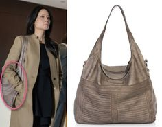 Elementary Season 2, Episode 11: Joan Watson's (Lucy Liu) grey leather, pleated bag by Liebeskind #elementary #getthelook #joanwatson