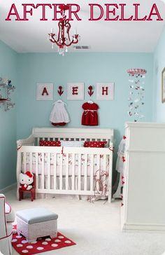 Baby Girl Nursery- Robin's Egg Blue & Red