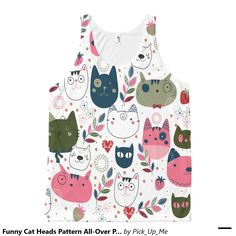 Funny Cat Heads Pattern All-Over Printed Tank Tops All-Over Print Tank Top