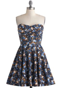 Traveling Cupcake Truck Dress in Navy Florals - Cotton, Short, Blue, Multi, Floral, Party, Fit & Flare, Strapless, Sweetheart, Daytime Party, Spring, Variation