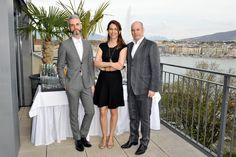Presenting Frederic Aranda, Laurence Desbordes and Jean-Pierre Greff, our Swiss judging panel on the terrace of the Armleder suite at Le Richemond, Geneva. #lerichemond #DCFasionPrize