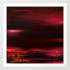 Abstract - Red Landscape Art Print by sophie_lemieux Landscape Prints, Landscape Art, Oil Painting Abstract, Oil Paintings, My Arts, Art Prints, Red, Products, Art Impressions