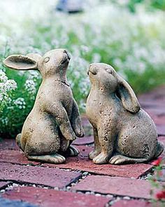These Terra Cotta Bunnies for a whimsical accent to your garden or flowerbed. Garden Statues, Garden Sculpture, Rabbit Sculpture, Animal Original, Bunny Art, My Secret Garden, Hidden Garden, Garden Ornaments, Garden Supplies