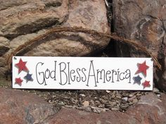 GOD BLESS AMERICA sign for July 4th wall door hanger by lisabees, 24.95