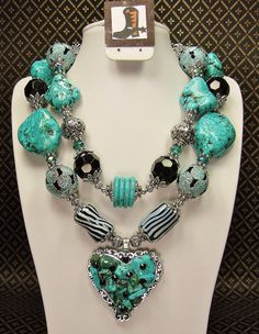 TURQUOISE / BLACK Chunky Western Style by CayaCowgirlCreations, $58.50