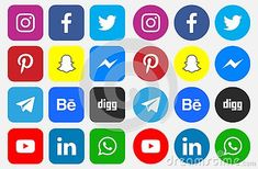 Icons and Social Media Logos On an isolated white background Facebook Twitter Instagram LinkedIn Pinterest Youtube WhatsApp Snapchat Messenger Digg Telegram Behance #download #logo #upload #svg