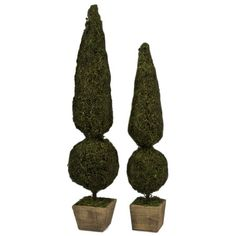 Set of 2 faux topiaries.     Product: Small and large faux topiary  Construction Material:  Rattan, metal and wo...