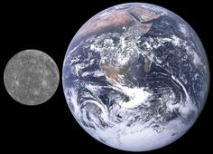 Mercury and Earth, size comparison. Credit: NASA / APL (from MESSENGER)