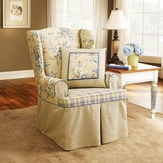 Sure Fit Lexington Wing Chair Slipcover, Blue  I really like this wonder how it would look with olive green walls and brown carpet?