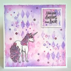Today I am sharing a pretty Unicorn card I made a while back. This one uses the Unicorn Dreams stamp set. Kanban Cards, Unicorn Cards, Girl Birthday Cards, Unicorns And Mermaids, Magic Cards, Snowflake Designs, Distress Ink, Kids Cards, Fairytale