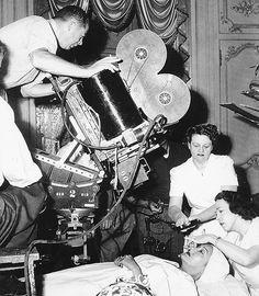 director Billy Wilder & Gloria Swanson on the set of Sunset Boulevard (1950)