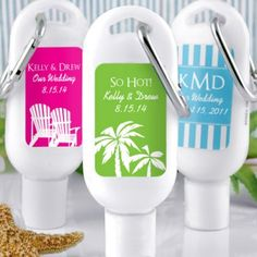Personalized sunscreen -- fantastic idea for destination wedding welcome bags!