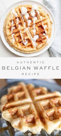 Waffle Recipe For 2, Easy Belgian Waffle Recipe, Waffle Iron Recipes, Belgium Waffle Recipes, Homemade Waffle Recipes, Waffle Recipe With Cornstarch, Belgian Desserts, Belgian Food, Breakfast