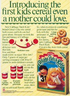 Ralston Purina Co, 1985 Breakfast Cereal, Breakfast Time, Kids Cereal, Cereal Boxes, Cabbage Patch Kids, Vintage Ads, Nostalgia, Things To Come, Thoughts