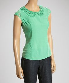 Love this Fashion Ai Mint Crochet Peter Pan-Collar Cap-Sleeve Top by Fashion Ai on #zulily! #zulilyfinds