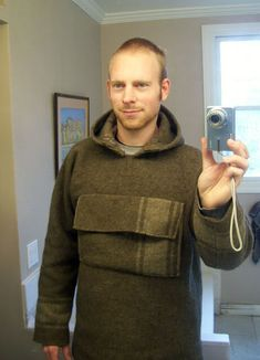Great looking anorak made from an old wool camping blanket.
