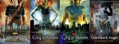 The Mortal Instruments series, by Cassandra Clare--recommended to me by Sara