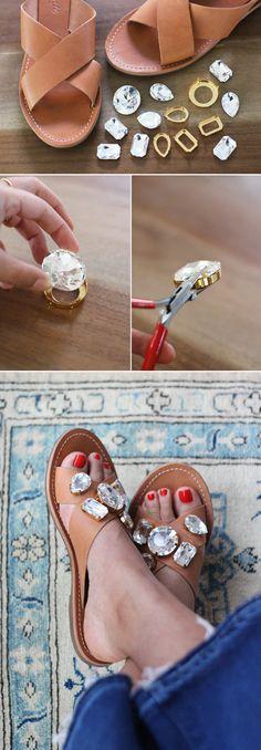 DIY Jeweled Sandals