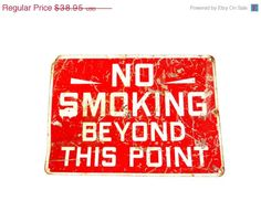 SALE VIntage Sign Metal Sign No Smoking by TheOrangeCollective, $19.48