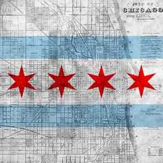 Chicago Flag, Map Graphic Art on Canvas
