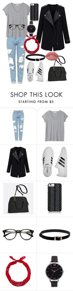"""Untitled #13"" by scampagna ❤ liked on Polyvore featuring Topshop, adidas, Avenue, Savannah Hayes, New Look, Olivia Burton and Lime Crime"