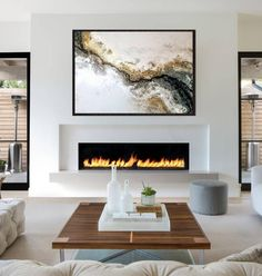 Tv Above Fireplace, Linear Fireplace, White Fireplace, Fireplaces With Tv Above, Living Room Decor Fireplace, Home Living Room, Modern Fireplace Decor, Foyer Mural, Fireplace Remodel