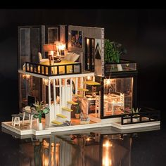 New Diy Doll Houses Wooden Toy Furniture Miniaturas Doll House Miniature Dollhouse Toys For Children Grownups Birthday Gift Dollhouse Toys, Wooden Dollhouse, Dollhouse Furniture, Dollhouse Miniatures, Home Furniture, Wooden Furniture, Diy Dolls House Kits, Model Building Kits, Birthday Gifts For Kids