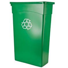 Continental 8322-2 23 GallonWall Hugger Recycling Trash Can - Green