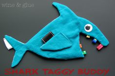 Shark Crinkle Taggy Blanket from www.wineandglue.com