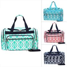 "Geometric Vine Print Canvas 20"" Carry on Travel Gym Dance Cheer Duffle Bag #NGIL"