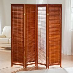 Tranquility Wooden Shutter Screen Room Divider in Honey Image