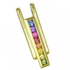 Engagement gift: Multicolor Rainbow Sapphire Bar Pendant 18K by RainbowSapphire, $595.00