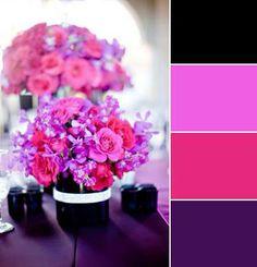 Fuchsia Hot Pink Plum Black Wedding Centerpiece shop wedding flowers and wedding decor at afloral.com DIY wedding wedding colors