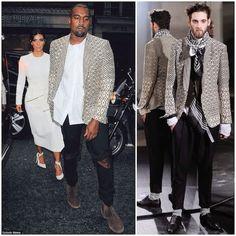 Kanye West - London Street Style http://www.whats-he-wearing.com/2014/09/kanye-west-wears-haider-ackermann-cream-geometric-jacket-london-september-2014.html