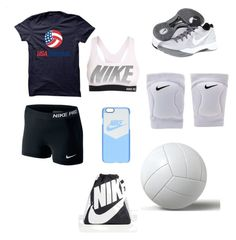 """Volleyball look"" by kellie-m-overturf on Polyvore featuring NIKE"