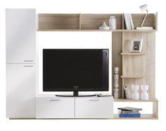 Arena TV-reol - TV-reol med 2 hvide skabe samt skuffer med plads til opbevaring. Stort rum med plads til TV. Åbne rum i lyst træ med plads til pynt, som skaber en hyggelig atmosfære. Kombinationen af hvide skabe og lyse træhylder gør, at reolen passer ind i de fleste hjem.