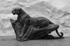 Bronze Cats sculpture by artist David Mayer titled: 'Leopard on rock (Small bronze African Big Cat statuette/statue statue)'